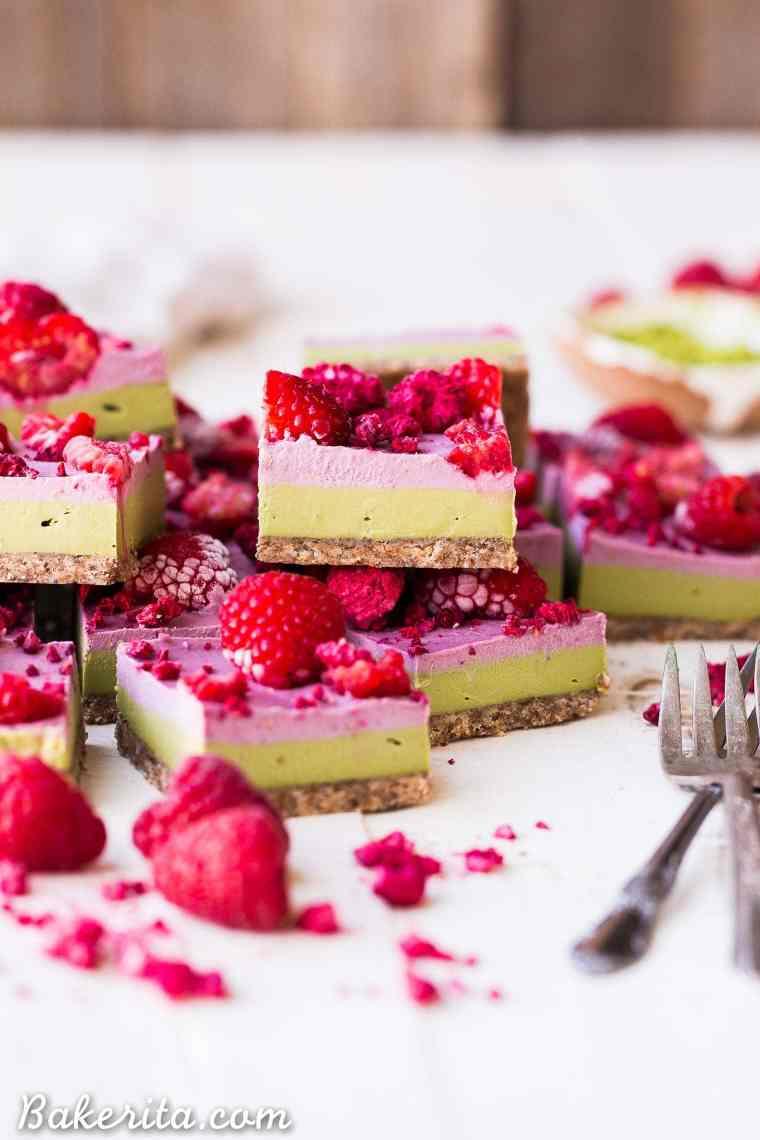 Layered Raspberry Matcha Bars - Gluten Free, Paleo, Refined Sugar Free, Dairy Free & Vegan