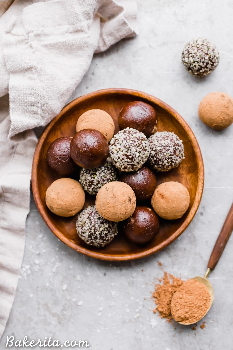 These Raw ChocolateTruffles will satisfy your chocolate candy cravings, guilt-free! These raw, date-sweetened truffles are easy to make in your blender or food processor, and they're gluten-free, paleo, and vegan.