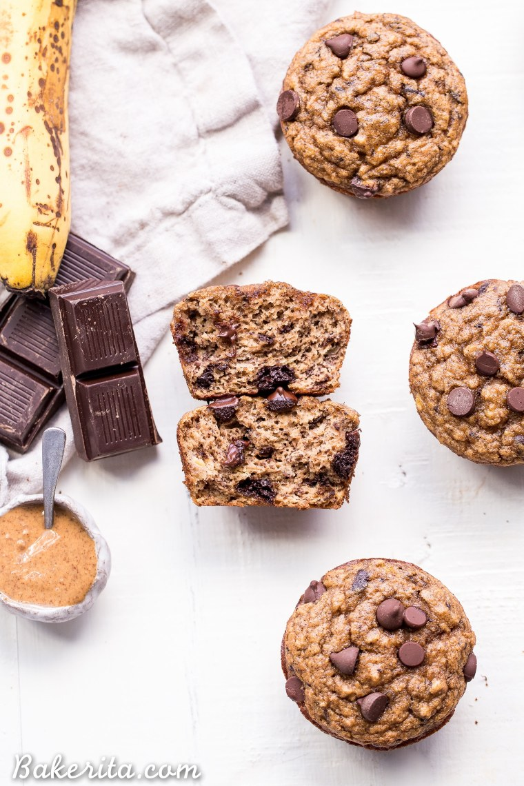 These Paleo Almond Butter Chocolate Chip Banana Muffins taste just like your mom's homemade banana chocolate chip muffins, but way healthier than the ones you remember. They're gluten-free, grain-free, dairy-free, and have no sugar added - these muffins are sweetened with only bananas!