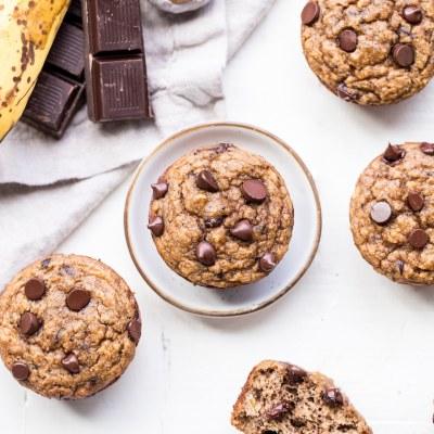 Paleo Almond Butter Chocolate Chip Banana Muffins
