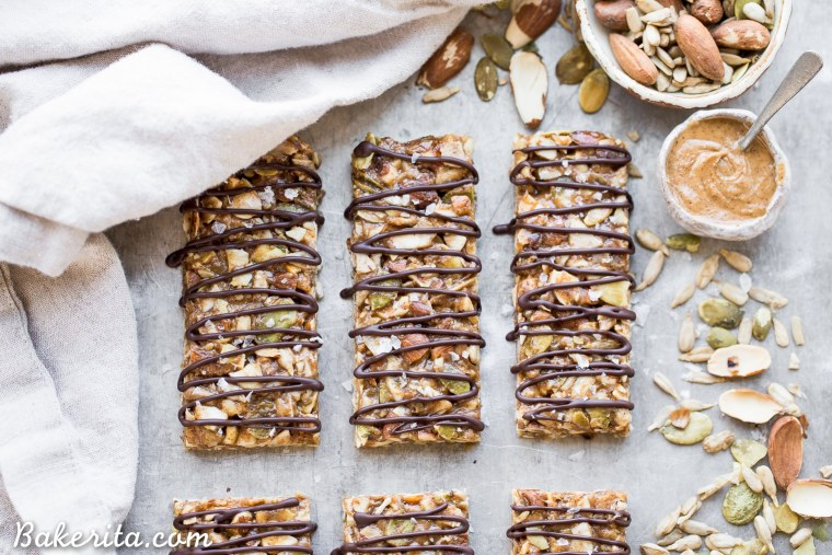 These No Bake Sprouted Nut & Seed Granola Bars are an easy and delicious granola bar that's way cleaner than most of what you can find at the grocery store! Best of all, you can customize them to suit your taste buds. You're going to love these gluten-free, paleo, and vegan granola bars!