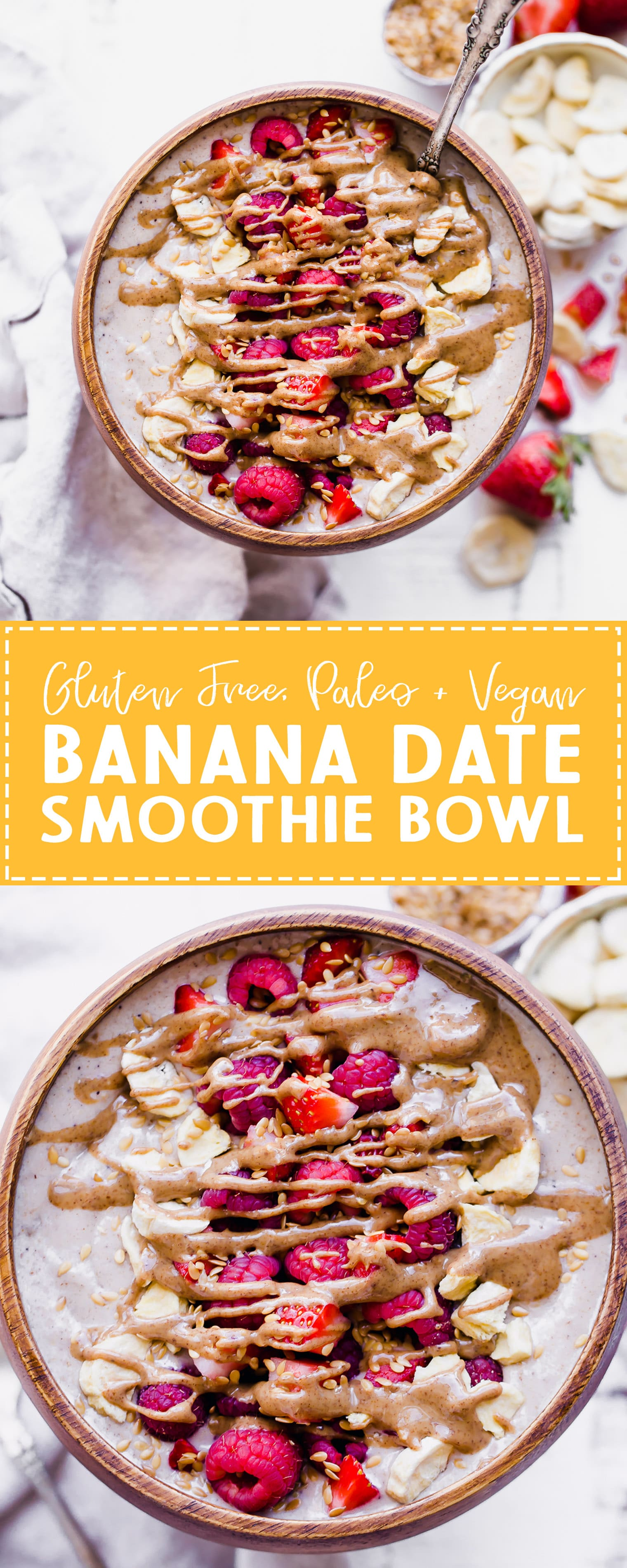 This Banana Date Smoothie Bowl (or smoothie) is a creamy and sweet treat that tastes like ice cream but is simple and healthy enough for breakfast thanks to a secret veggie that's snuck in there. Make yourself a bowl of this paleo and vegan banana date goodness on the next warm morning for a refreshing breakfast.