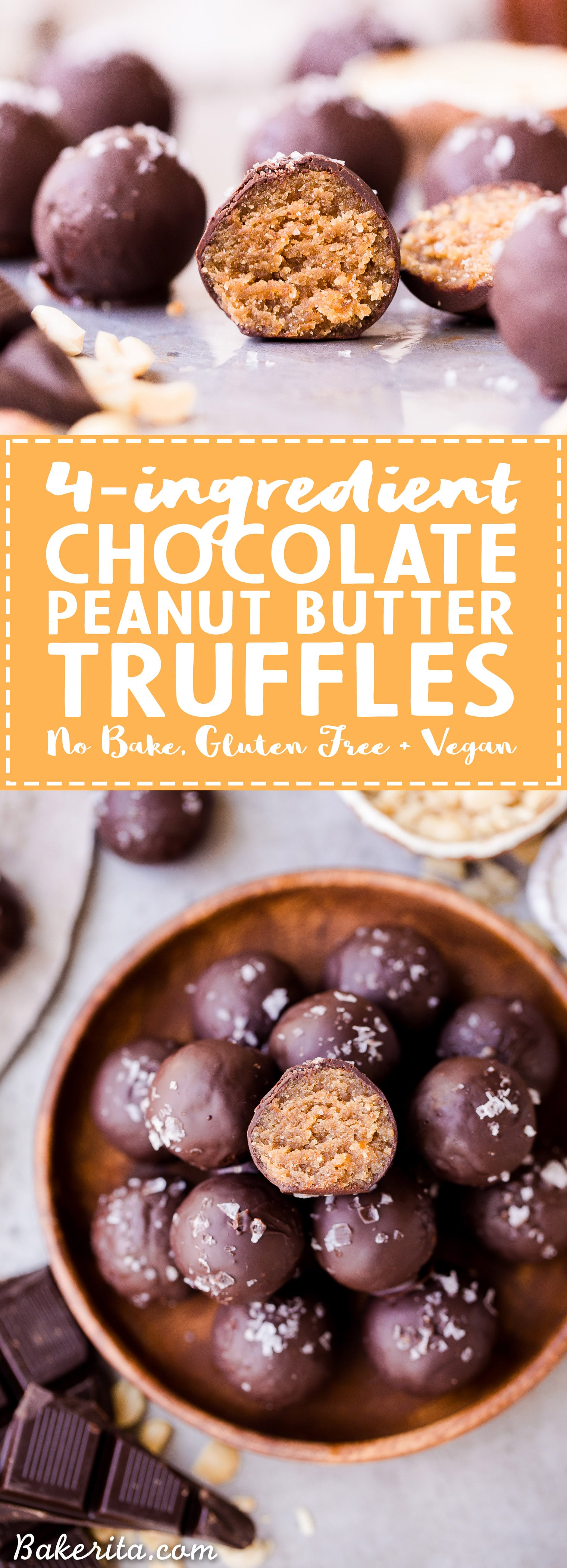 These Chocolate Peanut Butter Truffles are decadent, delicious, and made with just FOUR super simple + clean ingredients. They're gluten-free, vegan and sweetened with dates - they can also easily be made paleo by using a different nut butter! These truffles are sure to satisfy your chocolate peanut butter candy cravings.