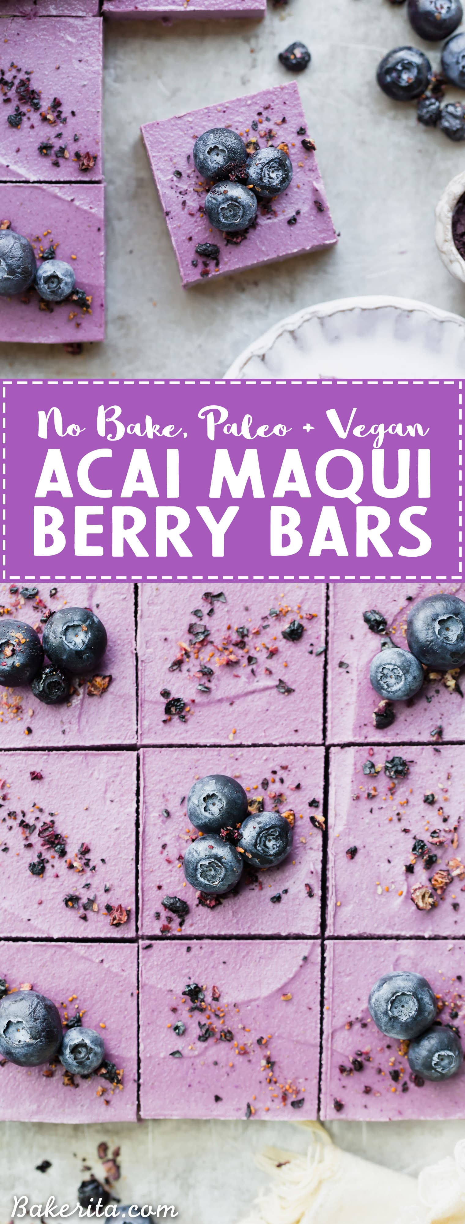 These creamy No-Bake Acai Maqui Berry Bars are full of antioxidants from acai + maqui berry powder - it's a punch of superfood power packed into a healthy and delicious dessert bar! These gluten-free, paleo and vegan bars are so refreshing - no baking necessary.