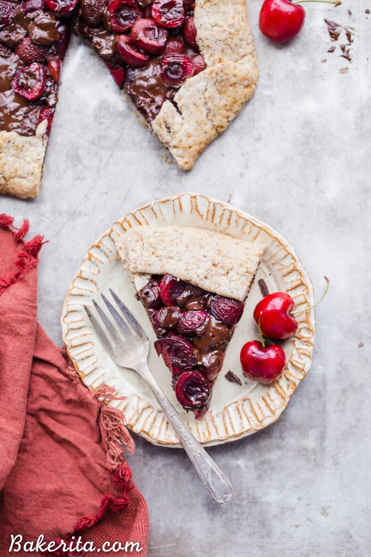 This Chocolate Cherry Galette is made with dark chocolate and fresh red cherries, all tucked into a super flaky pie crust that you would never guess is gluten-free, paleo and vegan. If you're a cherry fan, you need to try this chocolatey treat out ASAP!