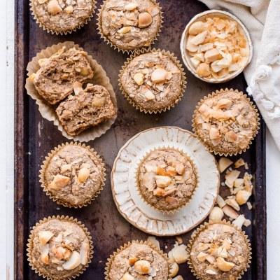 Macadamia Nut Coconut Banana Muffins (Gluten Free + Vegan)