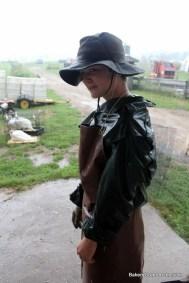 The chicken butcher in the rain.