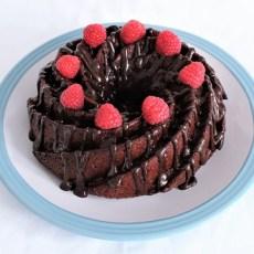 Vegan chocolate and raspberry bundt cake