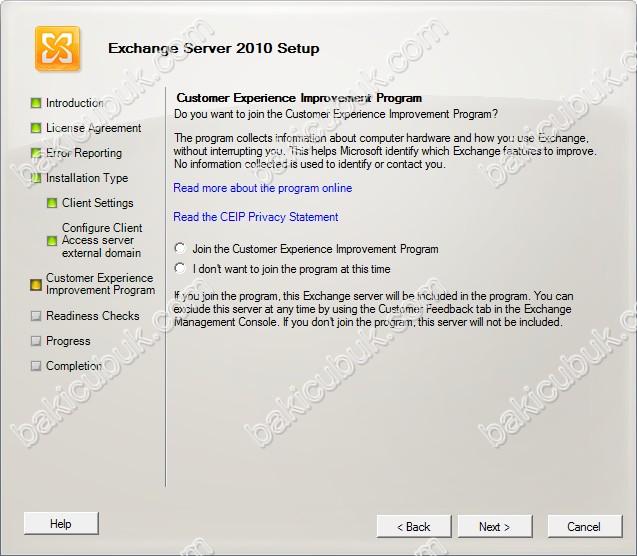 Windows Server 2012 Üzerinde Exchange Services Pack 3