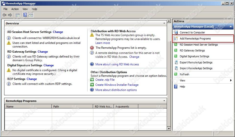 Windows Server 2008 R2 RemoteApp Manager ile Uygulama