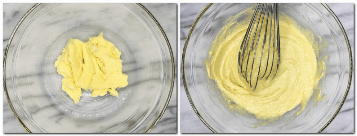 Photo 3: Beaten butter with salt and sugar in a bowl Photo 4: Butter/sugar/eggs/ almond flour mixture in a bowl