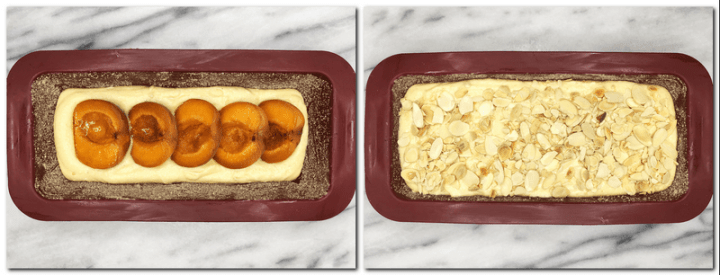 Photo 7: Cake batter and apricots in a cake loaf pan Photo 8: Cake batter sprinkled with flaked almonds in a pan
