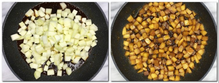 Photo 9: Apple cubes on top of caramel in a pan Photo 10: Caramelized apples in a pan