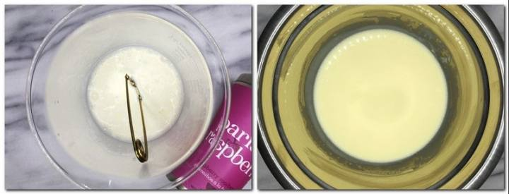 Photo 1: Tea strainer into a high glass bowl with cream and a tea can on background Photo 2: Cream/white chocolate mixture in a bowl