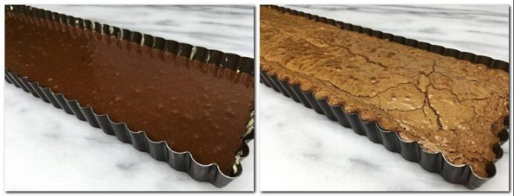 Photo 5: Brownie preparation in a tart pan Photo 6: Baked brownie in a tart pan
