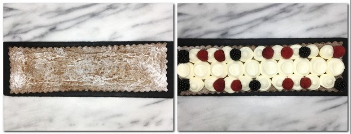 Photo 7: Cake dusted with icing sugar on a marble board Photo 8: Brownie topped with Chantilly cream balls and fresh berries on a black board
