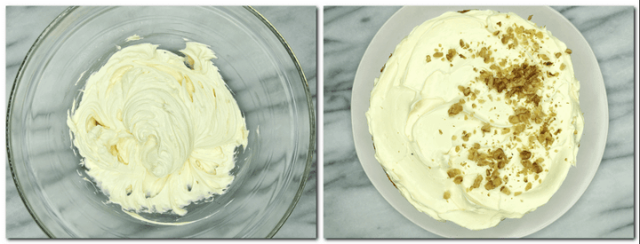 Photo 7: Cream cheese frosting in a bowl Photo 8: Assembled Carrot cake: Bird view