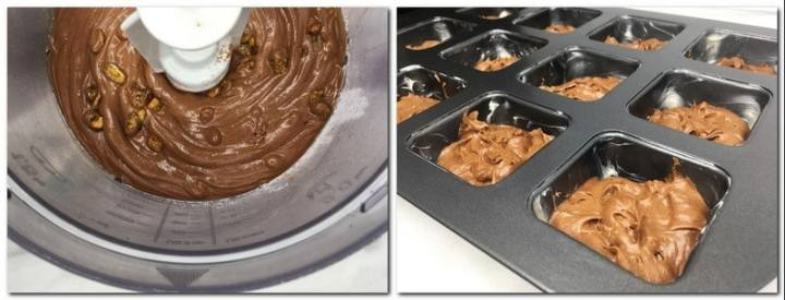 Photo 7: Ready brownie batter in the bowl of a stand mixer Photo 8: Batter in a brownie pan
