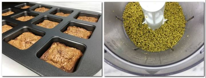 Photo 9: Baked cakes in a pan Photo 10: Crushed pistachios in a food processor