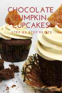 Chocolate Pumpkin Cupcake cut into two parts with the pumpkin filling inside: Closeup