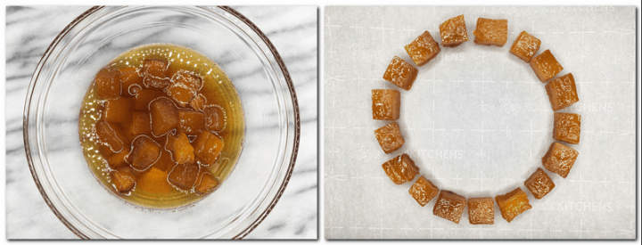 Photo 1: Cooked pumpkin cubes with the pumpkin syrup in a bowl Photo 2: Pumpkin cubes on the parchment