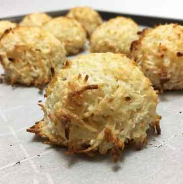 A batch of Easy Coconut Macaroons on the parchment