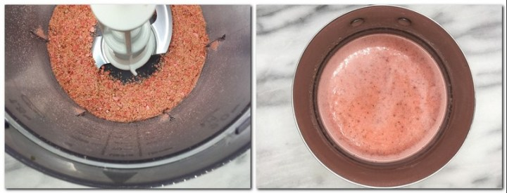 Photo 1: Crushed pink praline in the bowl of a food processor Photo 2: Pink praline/cream mixture in a saucepan