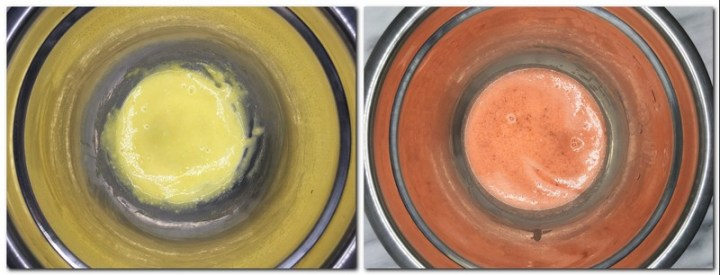 Photo 3: Egg yolks/flour/sugar mixture in a bowl Photo 4: Egg yolks/pink praline mixture in a bowl