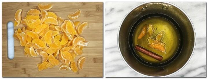 Photo 7: Mandarin segments on a wooden board Photo 8: Ready sticky sauce in a saucepan