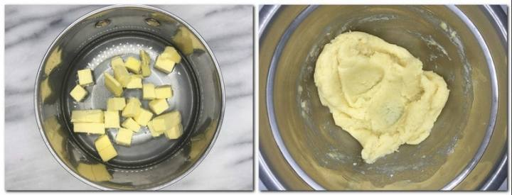 Photo 1: Butter, salt and water in a saucepan Photo 2: Dough in a metal bowl