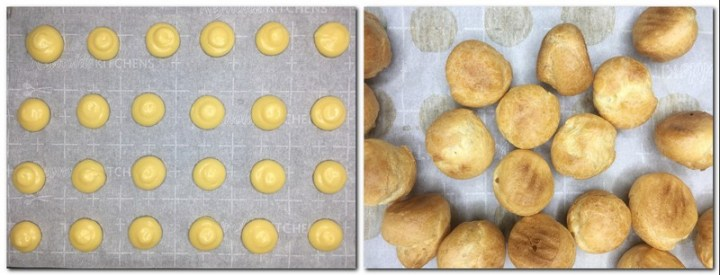 Photo 5: Piped choux pastry dough on parchment paper Photo 6: Baked choux puffs on parchment