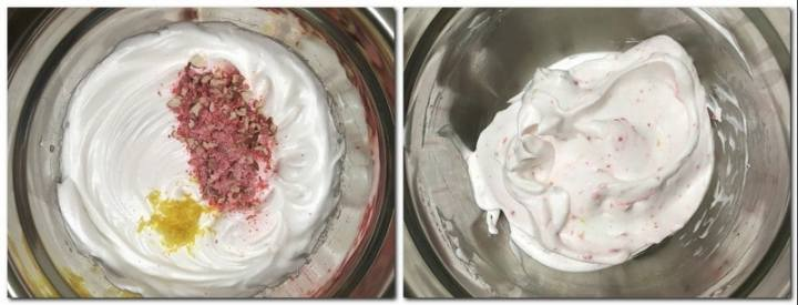 Photo 3: Beaten egg whites with lemon zest and crushed pink praline on top Photo 4: Ready meringue mixture in a bowl