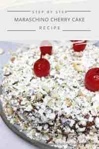 Maraschino Cherry cake on a dessert plate