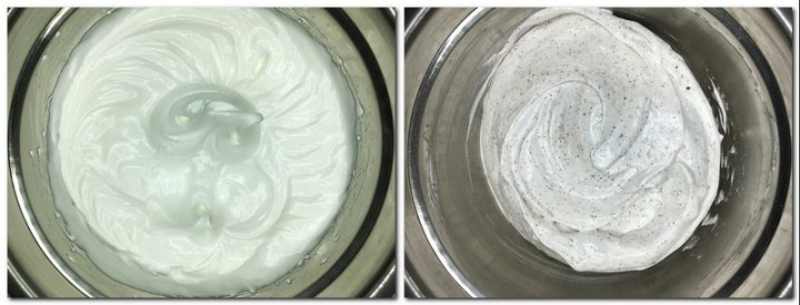 Photo 1: Meringue in a bowl Photo 2: Meringue mixed with icing sugar and ground coffee in a bowl