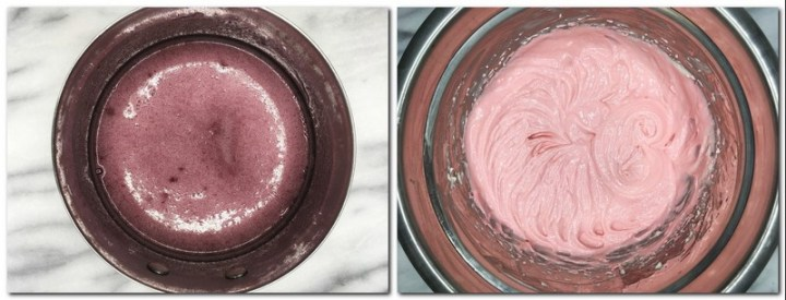 Photo 7: Raspberry puree/sugar/gelatin mixture in a saucepan Photo 8: Pink-colored cream cheese/ raspberry mixture in a bowl