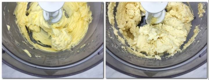 Photo 1: Beaten butter in the bowl of a stand mixer Photo 2: Butter/dry ingredients mixture in the bowl of a stand mixer