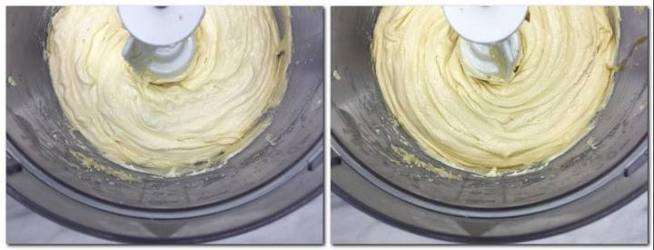 Photo 3: Butter, dry ingredients/ eggs mixture in the bowl of a stand mixer Photo 4: Ready cupcake batter in the bowl of a stand mixer