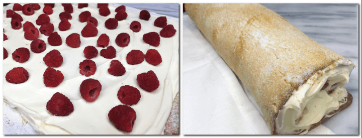Photo 9: Raspberries arranged over the cream Photo 10: Undecorated rolled cake on a marble board