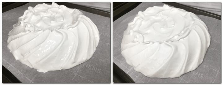 Photo 3: Meringue shaped in a dome Photo 4: Baked meringue shell