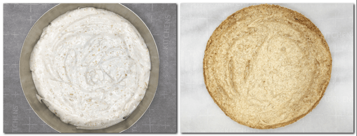 Photo 3: Meringue into a cake ring Photo 4: Baked meringue disk