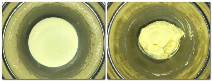 Photo 1: Egg yolks/sugar mixture in a bowl Photo 2: Egg yolks/sugar/butter mixture in a bowl