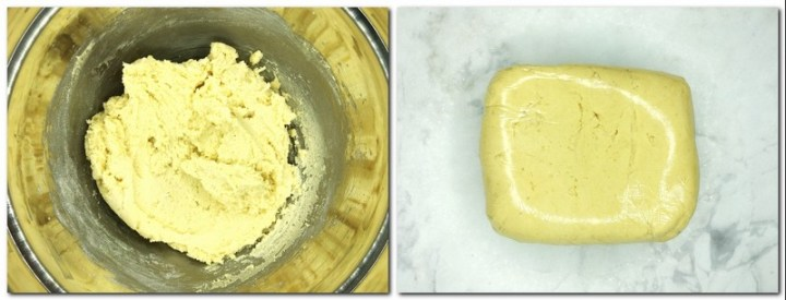 Photo 3: Ready dough in a bowl Photo 4: Dough wrapped in food film on a table