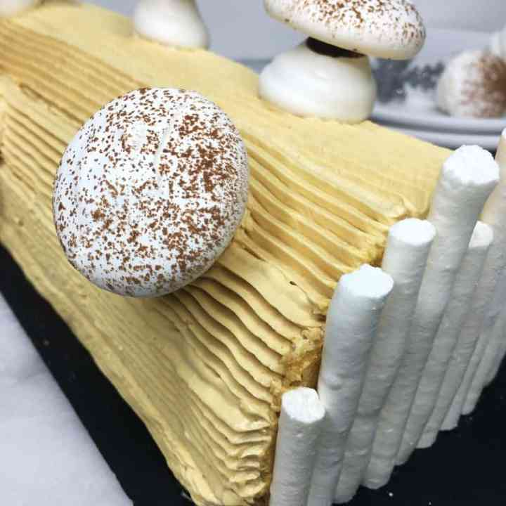 Decorated traditional Buche de Noel served on a serving platter
