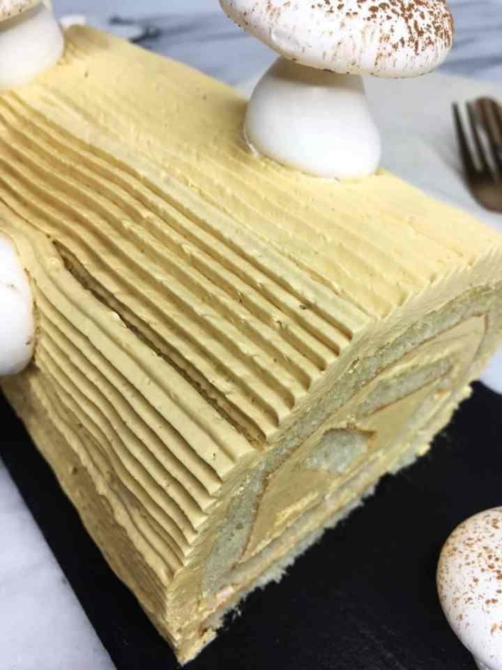 Slice of traditional Buche de Noel: Oblique view