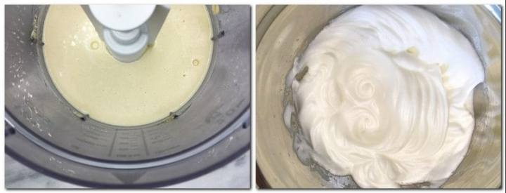 Photo 1: Mixed eggs, almond flour and icing sugar in the bowl of a stand mixer Photo 2: Beaten egg whites in a bowl