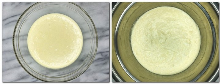 Photo 3: Eggs/flour/sugar mixture in a glass bow Photo 4: Ready biscuit batter in a bowl