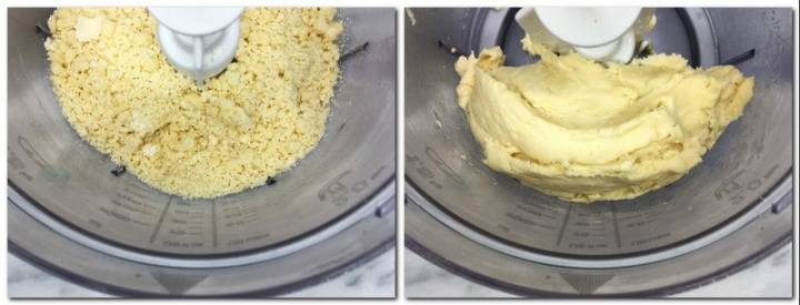 Photo 1: Sugar/butter/flour and baking powder mix in the bowl of a stand mixer Photo 2: Ready cookie dough in the bowl in a stand mixer