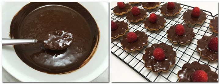Photo 7: Chocolate glaze with a spoon in a bowl Photo 8: Glazed Shortbread cookies with raspberries on top placed on a wire rack