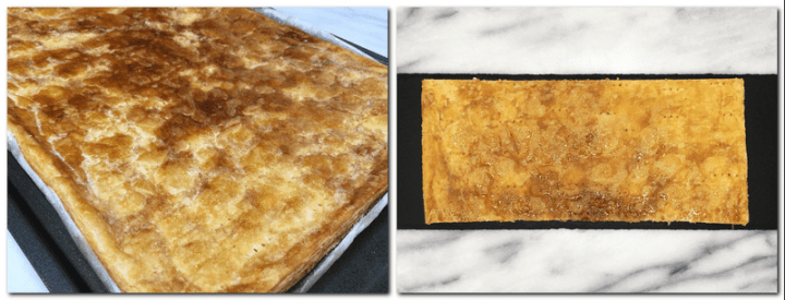 Photo 5: Caramelized puff pastry on the parchment paper Photo 6: Cut crust on a black board