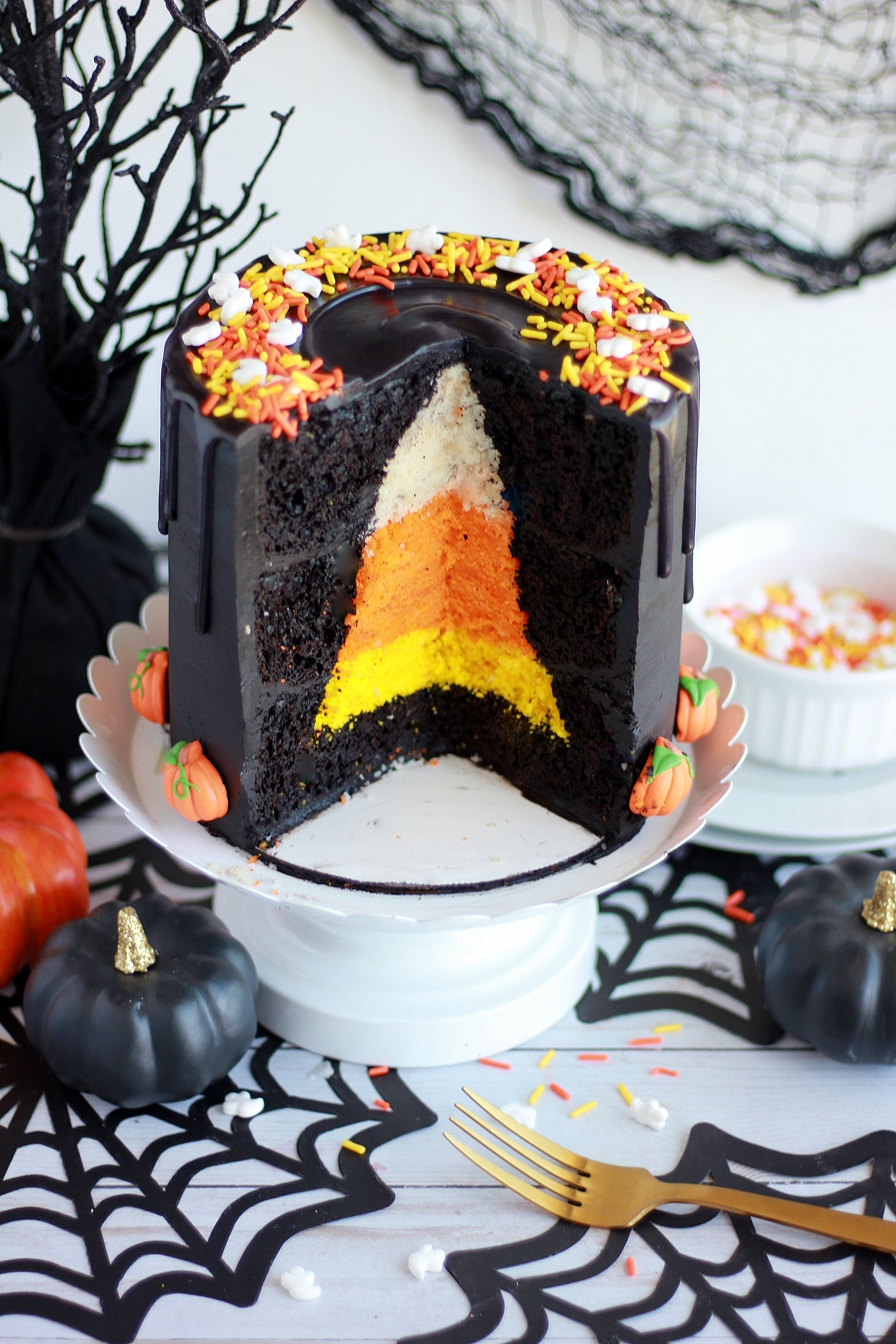 Halloween Candy Corn Cake - Baking with Blondie